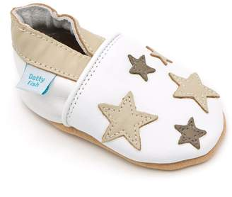 Original Penguin Dotty Fish Soft Leather Baby Shoes with Non Slip Suede Soles. Toddler Shoes. White with Mink Twinkle Stars. Boys and Girls.