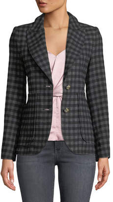 Smythe Check Two-Button Blazer with Patch Pockets