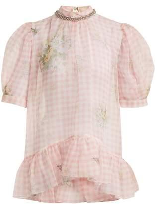 Christopher Kane Floral Print Gingham Silk Organza Top - Womens - Pink White
