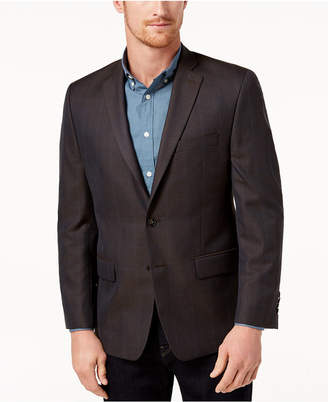 Michael Kors Men's Classic-Fit Brown/Blue Plaid Sport Coat