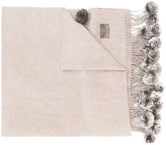N.Peal fur bobble cashmere scarf