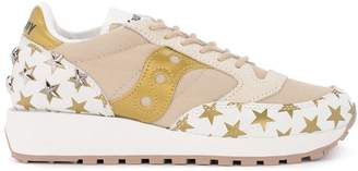 Saucony Jazz Pink, White And Gold Fabric And Leather Sneaker With Stars