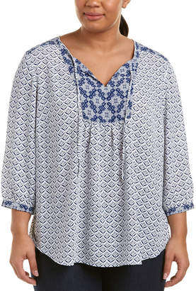 NYDJ Plus Peasant Top