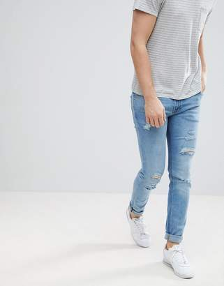Jack and Jones Skinny Fit Jeans With Rip Distress Detail
