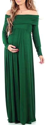 OBEEII Women's Cowl Neck Ruched Maternity Maxi Dress Long Sleeve Off Shoulder Nursing Gown Baby Shower Photography Prop S