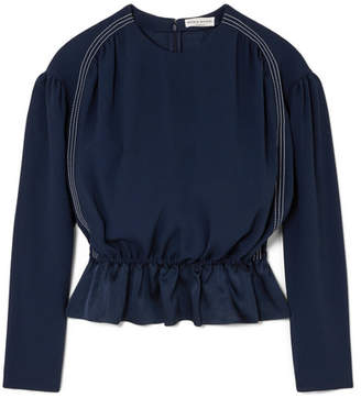 Sonia Rykiel Satin Peplum Top - Navy
