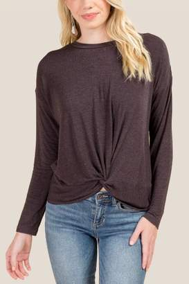 francesca's Britta Twist Front Top - Gray