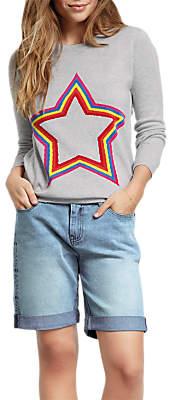 Hush Star Embroidered Shorts, Light Denim