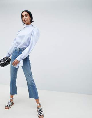 Asos Design Egerton Rigid Cropped Flare Jeans In Vintage Mid Wash