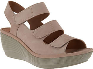 Clarks Nubuck Triple Strap Wedge Sandals -Reedly Juno