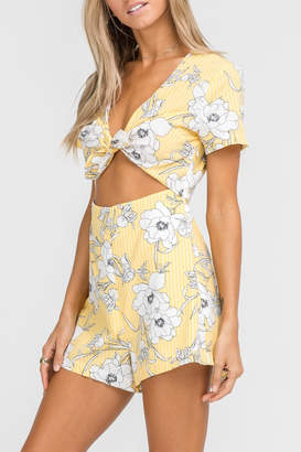 Lush Yellow Floral Romper