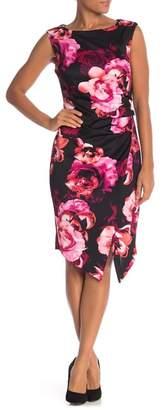 SL Fashions Floral Scuba Slit Sheath Dress