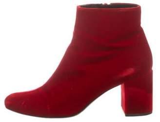 Saint Laurent Velvet Round-Toe Ankle Boots Velvet Round-Toe Ankle Boots