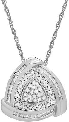 FINE JEWELRY Womens 1/4 CT. T.W. Genuine White Diamond Sterling Silver Triangle Pendant Necklace