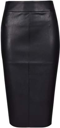 Dorothy Perkins Womens Petite Black Pu Midi Skirt