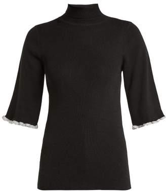 See by Chloe Metallic Trim Short Sleeved Wool Sweater - Womens - Black
