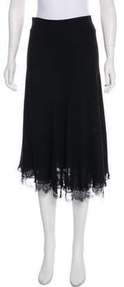Heidi Weisel Lace-Trimmed Silk Skirt