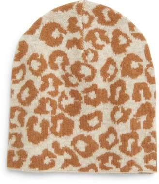 Halogen Leopard Print Wool & Cashmere Beanie