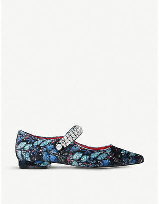 Kurt Geiger London Kingly butterfly-print embellished ballet flats