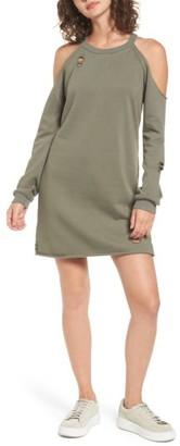 Women's Socialite Cold-Shoulder Sweatshirt Dress $49 thestylecure.com