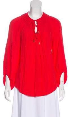 Diane von Furstenberg Long Sleeve Scoop Neck Top