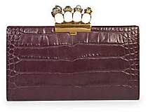 Alexander McQueen Women's Jewelled Four-Ring Croc-Embossed Leather Flat Pouch