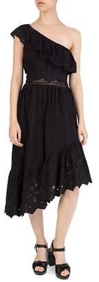 The Kooples One-Shoulder Eyelet Dress