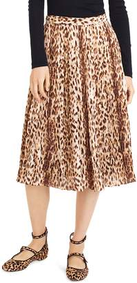 J.Crew Leopard Print Pleated Midi Skirt
