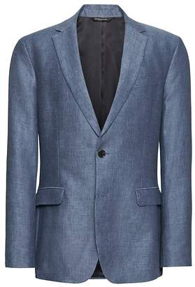 Banana Republic Standard Blue Linen Suit Jacket