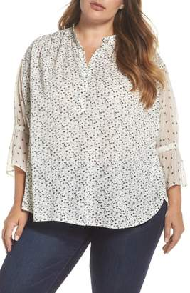 Lucky Brand Mix Print Floral Blouse