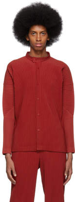 Issey Miyake Homme Plisse Red Pleated Banded Shirt