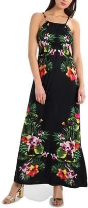 BENANCY Women's Sexy Halter Neck Long Beach Dresses Sleeveless Print Maxi Dress mb-XL