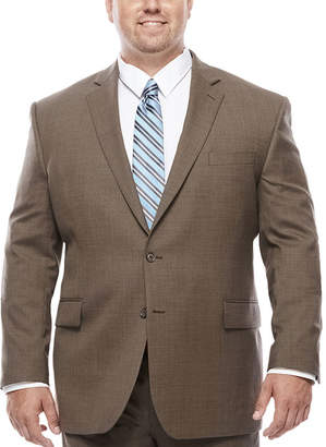 Blend of America STAFFORD Stafford Travel Wool Stretch Brown Sharkskin - Big & Tall Jacket