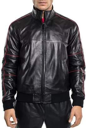 Sean John Leather Bomber Jacket