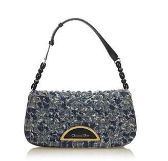 Christian Dior Vintage Textured Denim Malice Baguette