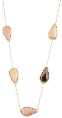 Made In Italy 14k Gold Teardrop Nugget Station Necklace