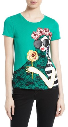 Women's Alice + Olivia Stace Lace Flowers Embellished Applique Tee $285 thestylecure.com