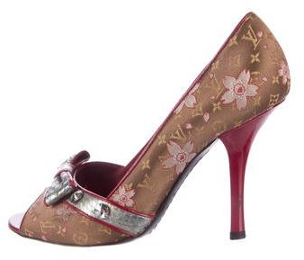 Louis Vuitton Snakeskin-Trimmed Cherry Blossom Pumps