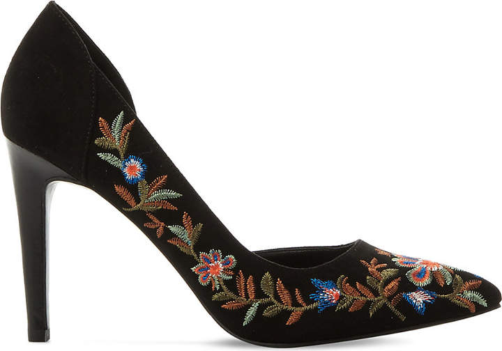 Steve Madden Adoria embroidered faux-suede courts