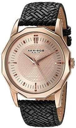Akribos XXIV Men's AK825RGB Quartz Movement Watch with Rose Gold Dial and Black Leather Strap
