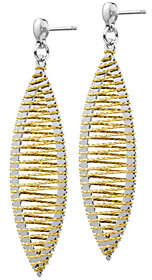 Italian Silver Two-Tone Drop Earrings