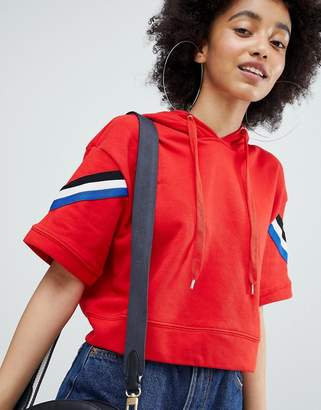 Bershka Cropped Hoodie In Red