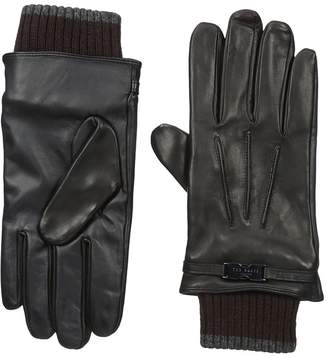 Ted Baker Quiff Ribbed Cuff Leather Gloves Dress Gloves