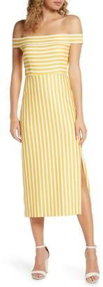 AVEC LES FILLES Off the Shoulder Stripe Midi Dress