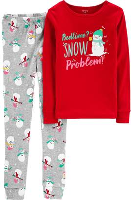 "Carter's Girls 4-14 Bedtime? Snow Problem"" Snowman Top & Bottoms Pajama Set"