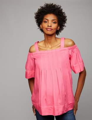 A Pea in the Pod Short Sleeve Off The Shoulder Maternity Blouse