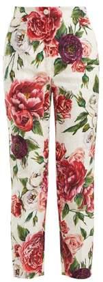 Dolce & Gabbana Floral Print Cotton Blend Jacquard Trousers - Womens - White Multi
