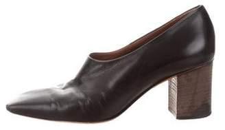Celine Square-Toe Leather Booties