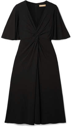 Michael Kors Twist-front Stretch-crepe Midi Dress - Black