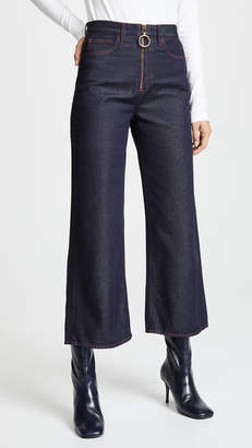 MiH Jeans Caron Wideleg Jeans with Contrast Stitching